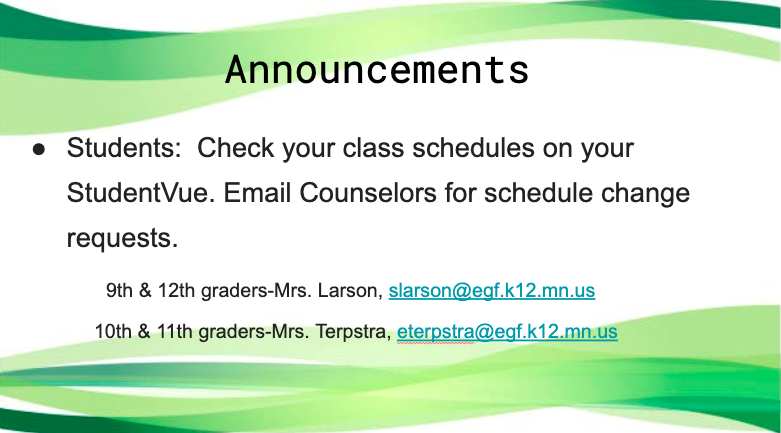 Check Your Class Schedules!